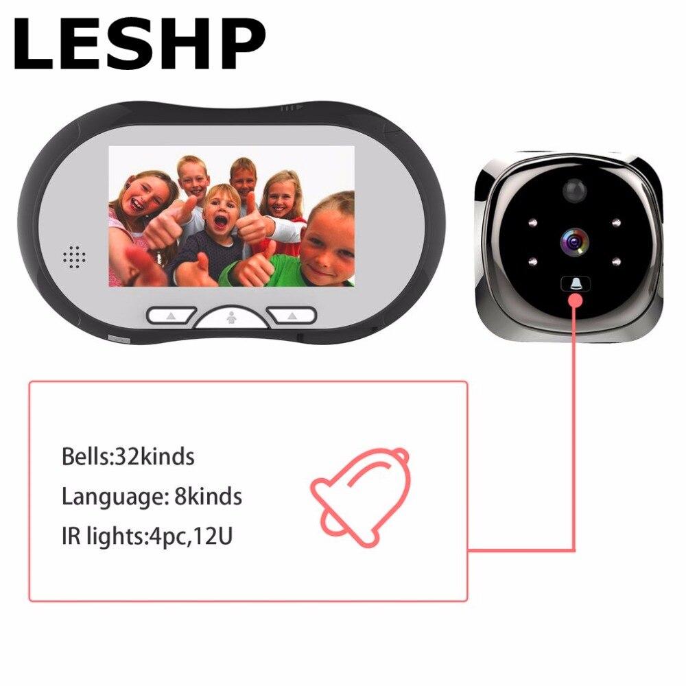 LESHP 4,3 дюймов TFT ЖК-дисплей Дисплей человеческого тела детектор видео-телефон двери Системы визуальный домофон дверь Ночное видение крытый м...