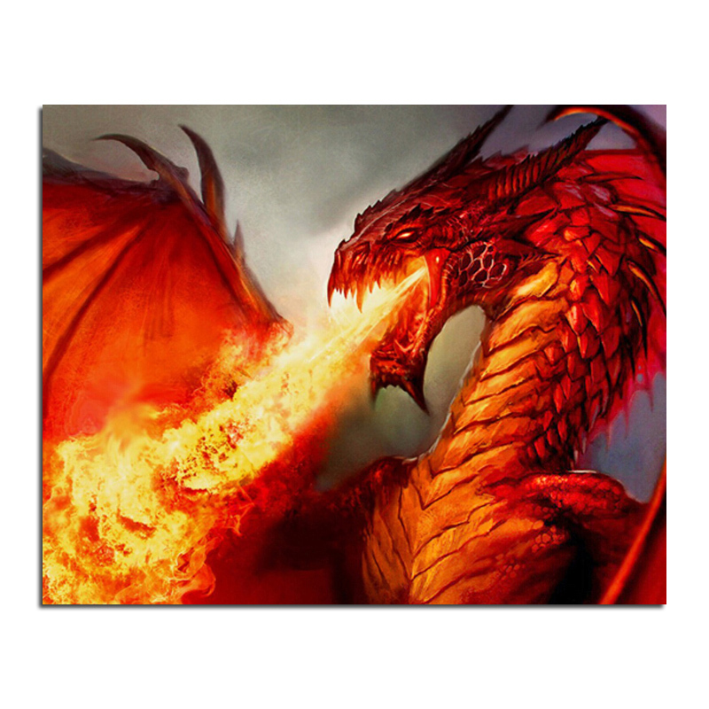 Dragon spit fire 50x40 cross stitch diy full diamond drawing square supplies embroidered paste Mosaic home decoration