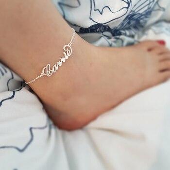 Stainless Steel Custom Name Anklet Persoanlized Nameplate Leg Chain 2