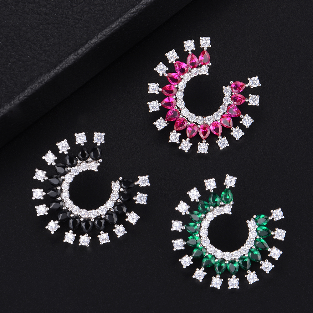 Considerate Siscathy Luxury Fireworks Trendy Stud Earrings For Women Fashion Engagement Clear Cz Stone Party Jewelry Pendientes Mujer Moda To Win A High Admiration And Is Widely Trusted At Home And Abroad.