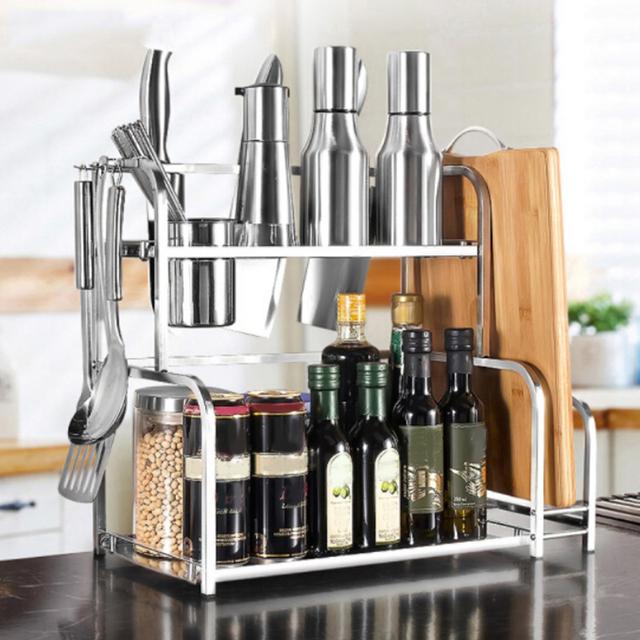 Floor Type Kitchen Storage Rack Stand Shelf Stainless Steel Organizer Shelf Condiment Knife Chopping Board Holder Kitchen Gadget