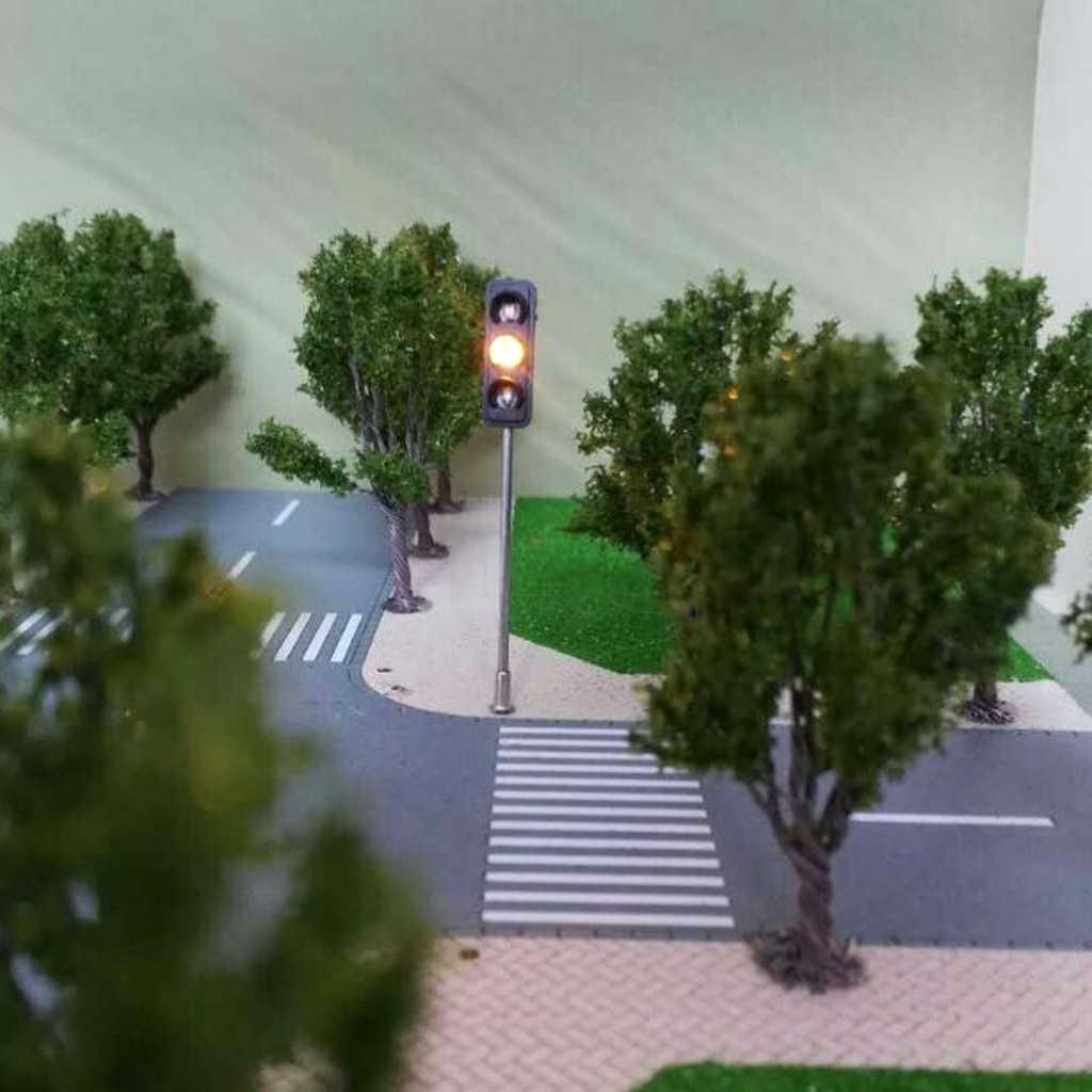 3 sztuk 60mm Model 3-lekkie metalowe ruchu światła sygnalizacyjne 5-6 V 0.36 W moc LED data data powrotu (kolejowego architektury Diorama sceneria akcesoria