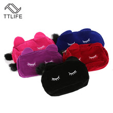 TTLIFE Portable Cartoon Cat Storage Bag Handheld Travel Makeup Comestic Small Coin Wallet Pouch With Fur Ball Dropshipping