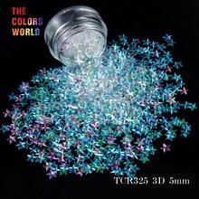 TCT 046 3D אפקט 5MM כוכב צורת 12 צבעים גליטר סט עבור נייל גליטר פאייטים נייל אמנות קישוט איפור Facepaint ו DIY