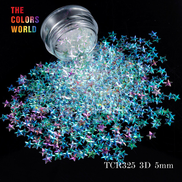 TCT 046 3D Effect 5 มม.รูปร่าง 12 สี Glitter ชุดสำหรับเล็บ Glitter ตกแต่งเล็บแต่งหน้าเครื่องสำอางและ DIY