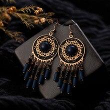 Hot sell Water drop Bohemia Women's earring Statement Ethnic Hollow Round Bead Long tassel Earrings for women fashion Jewelry|Drop Earrings| |  - AliExpress