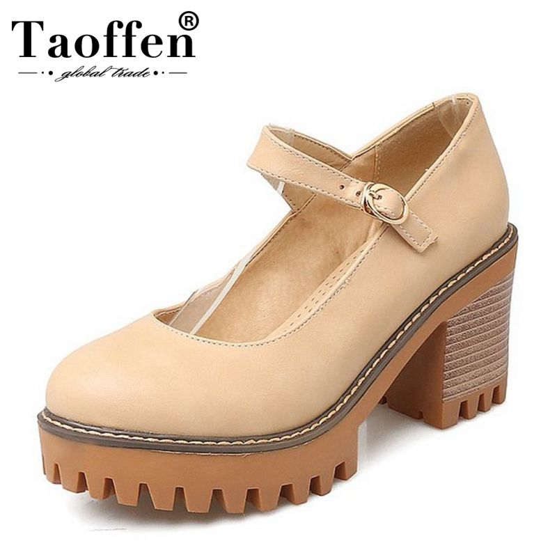 TAOFFEN Size 33-43 Women High Heel Shoes Round Toe Solid Color Ankle Strap Thick Heel Pumps Party Daily Shoes Woman Footwear