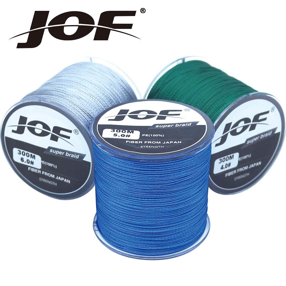 JOF Die 300 mt 4 steht PE Geflochtene Fliegenfischen Linie 4-100LB Zu Wahl Power PE Braid Angeln WireFishing Zubehör