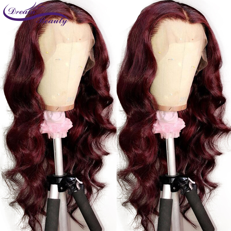 99j Burgundy Body Wave Lace Frontal Human Hair Wigs Brazilian Lace Front Wigs with Baby Hair