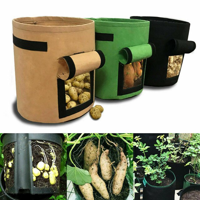 7 Gallons Fabrics Tomatoes Potato Grow Bag with Handles Flowers Vegetables Planter Bags Home Garden Planting Accessories New