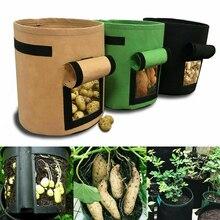7 litri Tessuti Pomodori Patate Grow Bag con Manici Fiori Verdure Planter Borse Casa Giardino Piantare Accessori Nuovo
