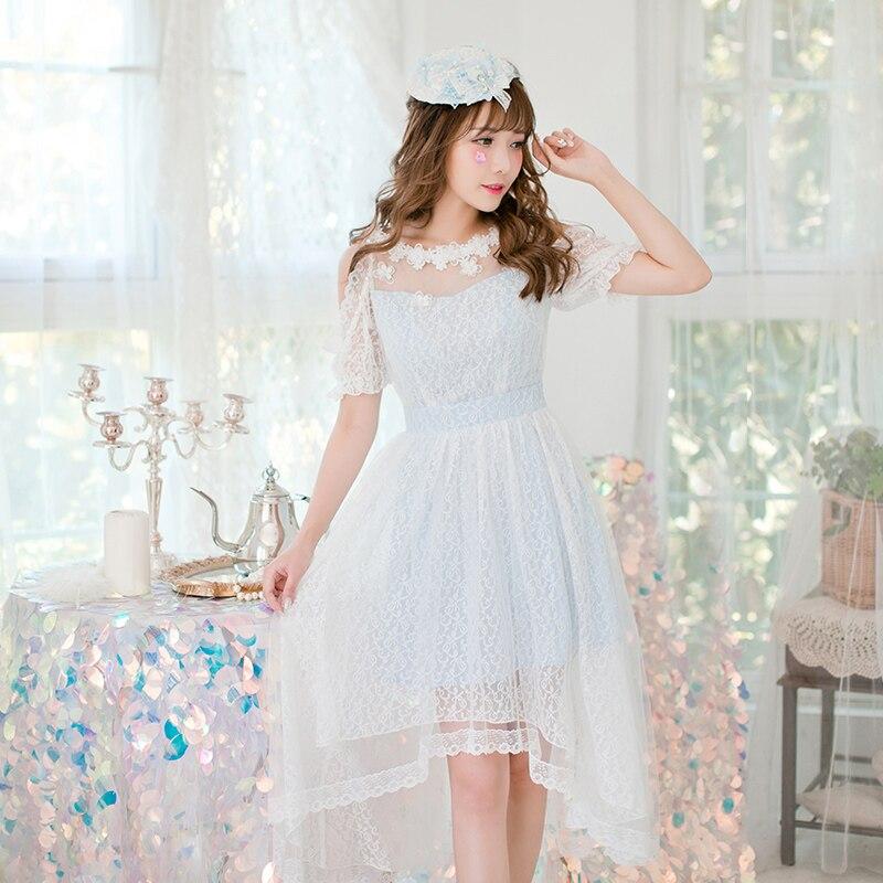 Princess sweet lolita dress Candy rain Lace dress Japanese sweet princess dress Strapless temperament irregular dress