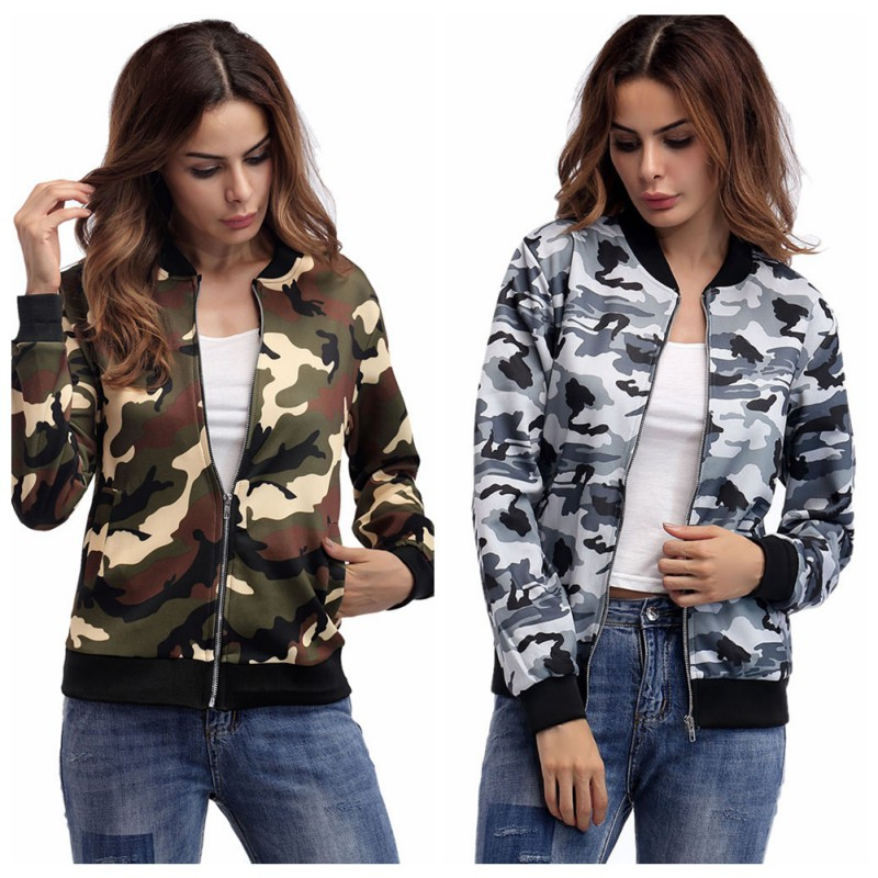 Camouflage   Jackets   Women Casual Slim   Basic     jacket   Army Green 2018 Fashion Autumn Printed Long Sleeve Outwear Dropshipping Hot 1