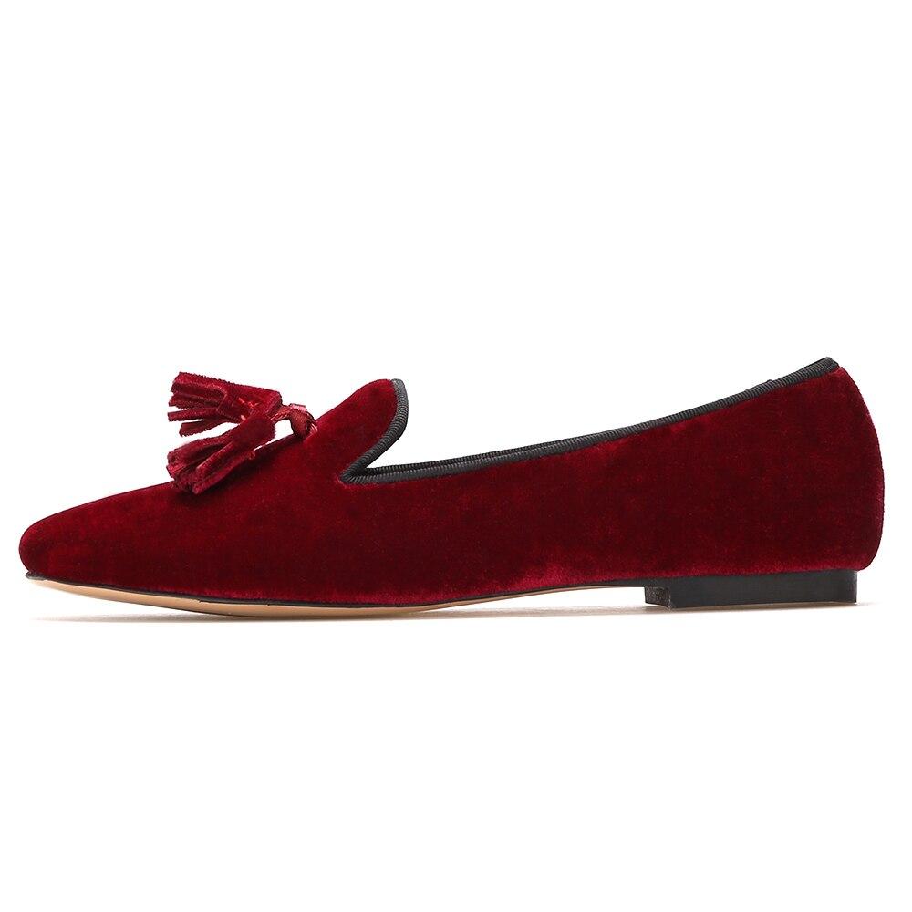 Piergitar Nieuwe handgemaakte vrouwen fluwelen schoenen met kwastje wijn rode kleur vrouwen Casual en Party loafers vrouwen jurk flats - 2