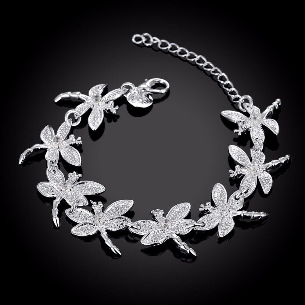 925 Silver dragonfly bracelet with clear zircon women ladies fashion adjustable crystal animal bracelets parure bijoux femme