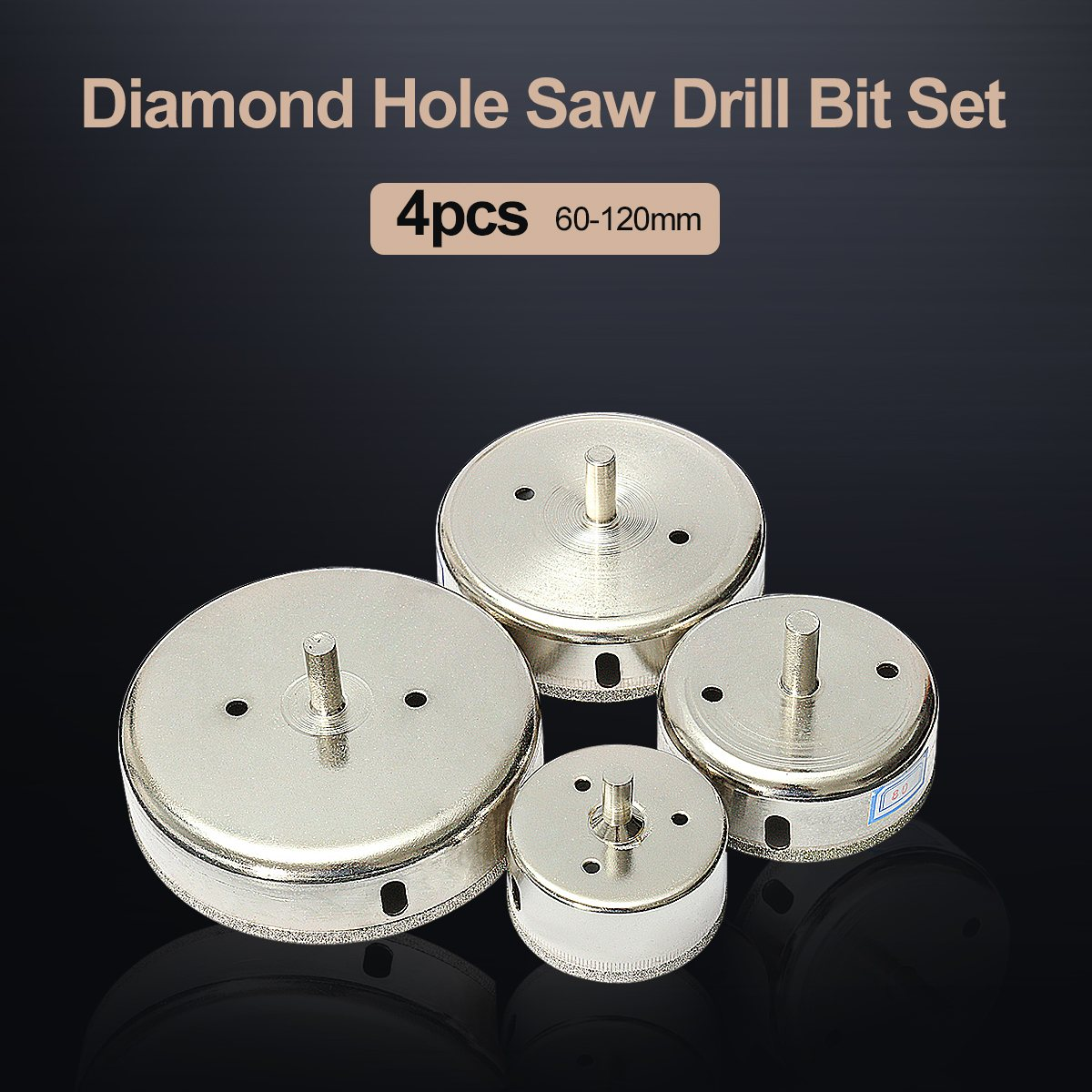 4pcs 60/80/100/120 mm Diamond Hole Saw Tile Set Drill Bit for Ceramic Glass Tile Cutting Porcelain Marble Drill Bit punch 10 mm nickel plating glass drill bit marble ceramic tile x 6