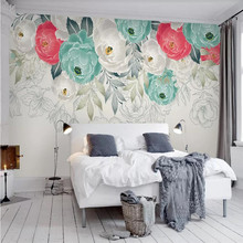 Custom wallpaper murals rural style hand-painted peony simple TV background high-grade silk material