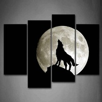 Framed Wall Art Pictures Wolf Moon Canvas Print Animal Modern Poster With Wooden Frame For Living Room Home Office Decor