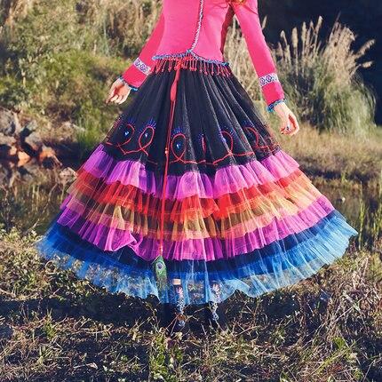 Makuluya arc-en-ciel Voile femmes bohème Patchwork Chic doux Vintage rétro vacances Voile volants Maxi longues jupes robe de bal L6