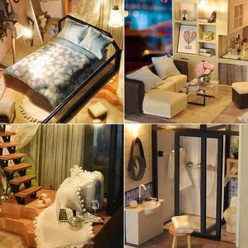 Cutebee DIY House Miniature with Furniture LED Music Dust Cover Model Building Blocks Toys for Children Casa De Boneca TD16