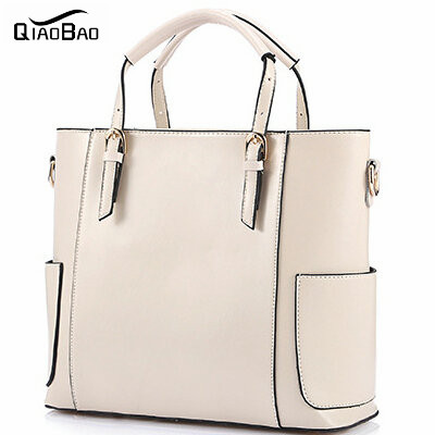 QIAO BAO 2017 All Seasons Leather Women Bags Famous Brand Wax Leather Handbags Ladies Casual Shoulder Crossbody Bags