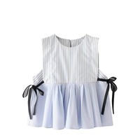Summer Women Striped Vest Sleeveless Sexy V Neck O Neck Lady Tops Ribbons Lace Up Lose