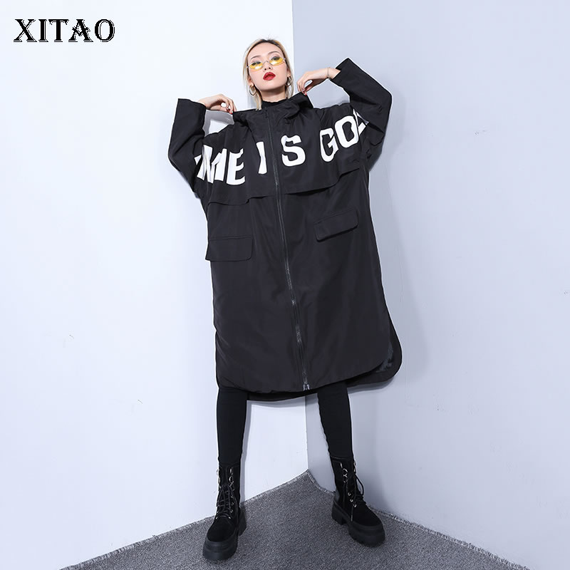 [XITAO] 2019 Spring Summer New Full Sleeve Coat Korea Fashion Casual Hooded Collar Letter Pattern Pocket Long   Trench   ZLL3124