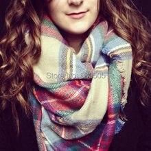Women Lady Winter Infinity Blanket Oversized Shawl Plaid Tartan Scarf Wrap