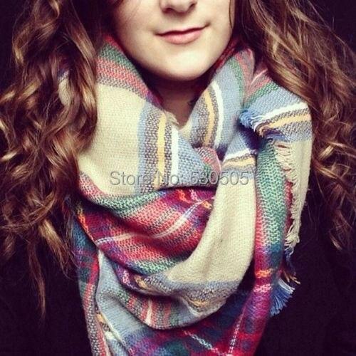 Women Lady Winter Infinity Blanket Oversized Shawl Plaid font b Tartan b font Scarf Wrap