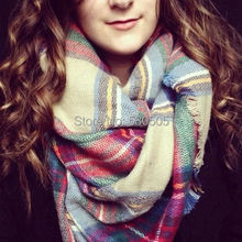 Women Lady Winter Infinity Blanket Oversized Shawl Plaid Tartan Scarf Wrap