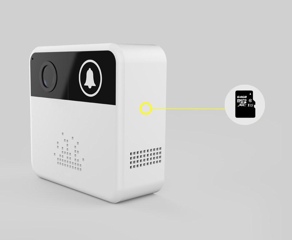 Smart Wireless WiFi Video Doorbell Battery Powered House Intercom 720P HD Door Bell Camera with Two-way Audio IR Night Vision