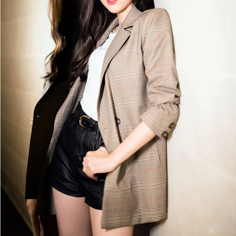 HEE GRAND Women Blazers Vintage British Style Ladies Slim Suit Plaid Casual Small Suit Female Daily Fashion 2019 Jacket WWX496