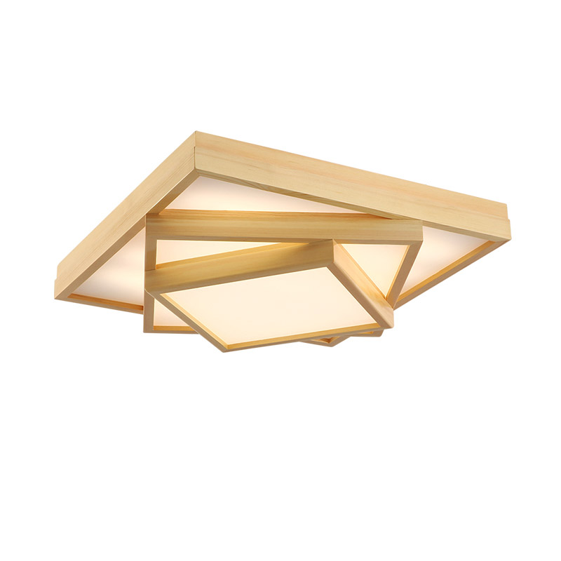 ac25e5ee844de8 New Modern Wooden LED Surface Mounted Light 3 Layers Square Ceiling Lamp  Living Room Bedroom Home Decor Fixture Lighting CL181