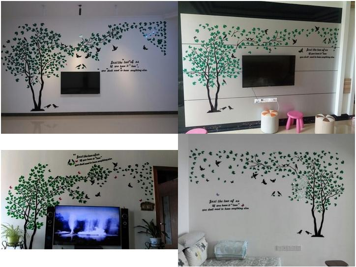 Leaves birds crystal three-dimensional Tree wall stickers acrylic - Home Decor - Photo 4