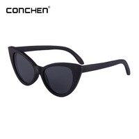 CONCHEN Vintage Wooden Polarized Sunglasses Women Brand Designer 2018 Hot Sale Mirror Sunglass #W3034