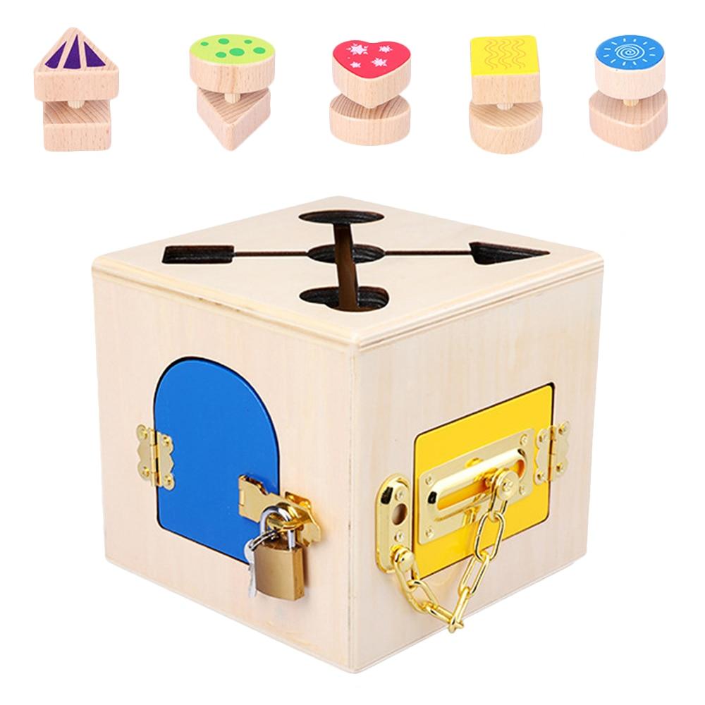 Wooden Montessori Toys Practical Lock Box Toy Montessori Materials Education Wooden Sensory Toys 3 Years Children