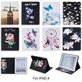 Для apple ipad 2/3/4 Case Мода Бабочка Цветок Свинья Рисунок бумажник Флип Кожа PU Tablet Обложка Для iPad 234 9.7 ''Funda