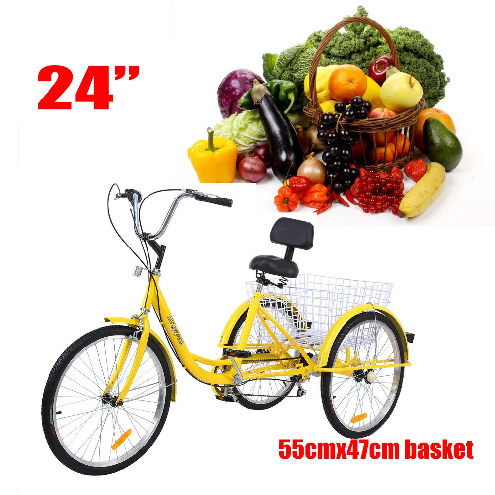 "Basket Ridgeyard 7-Speed Adult 26/"" 3-Wheel Tricycle Trike Bicycle Bike Cruise"