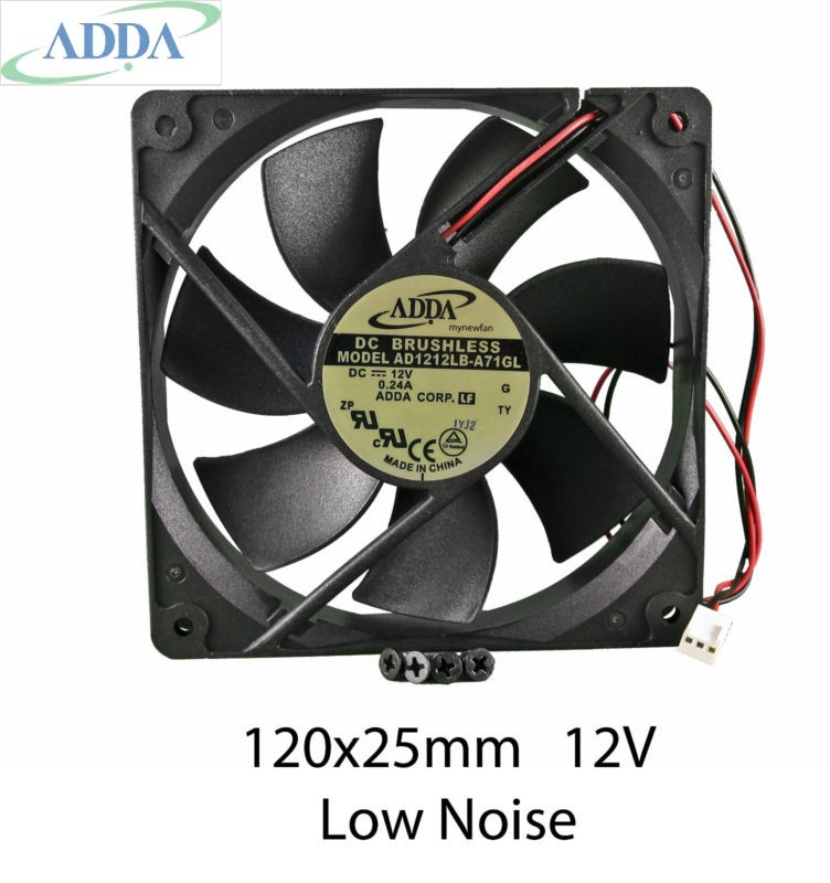 ADDA AD1212LB-A71GL 12cm 120mm 120*120* 25mm  12V 0.24ADC Cooling Computer Ball Brg 2pin FAN adda aa1252mb aw 1225 12025 12cm 120 120 25mm 110v 220v aluminum frame dual ball cooling fan axial fan