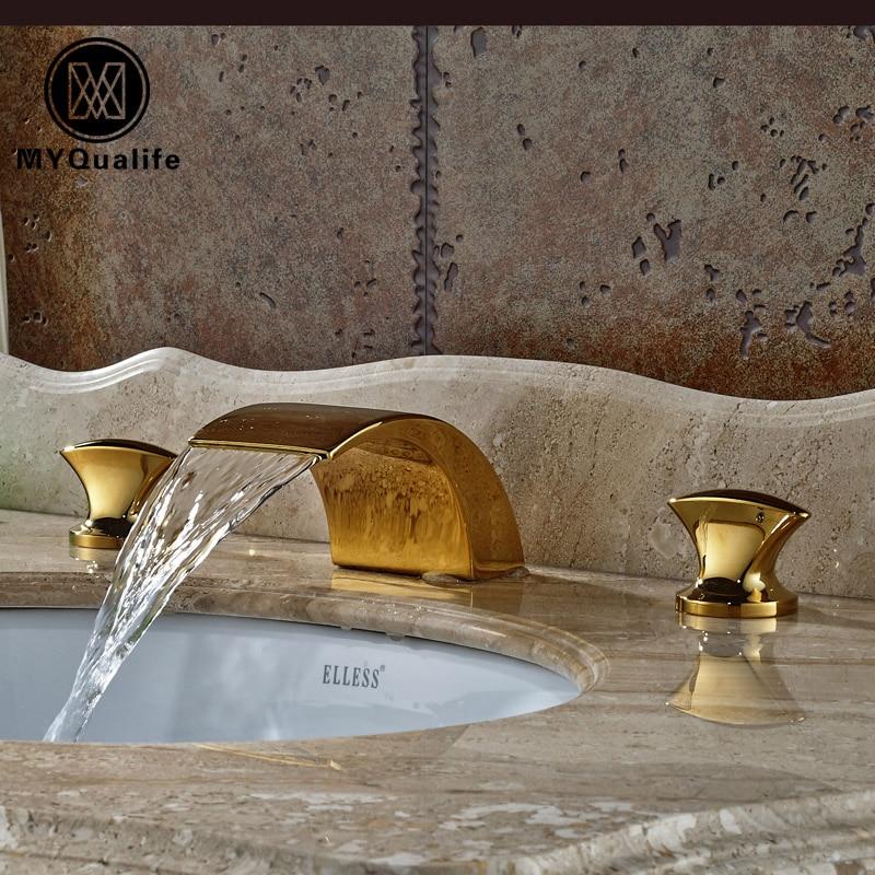Luxury Golden Brass Waterfall Basin Sink Faucet Deck Mount Dual Handles Mixer Taps deck mount wide waterfall brass basin