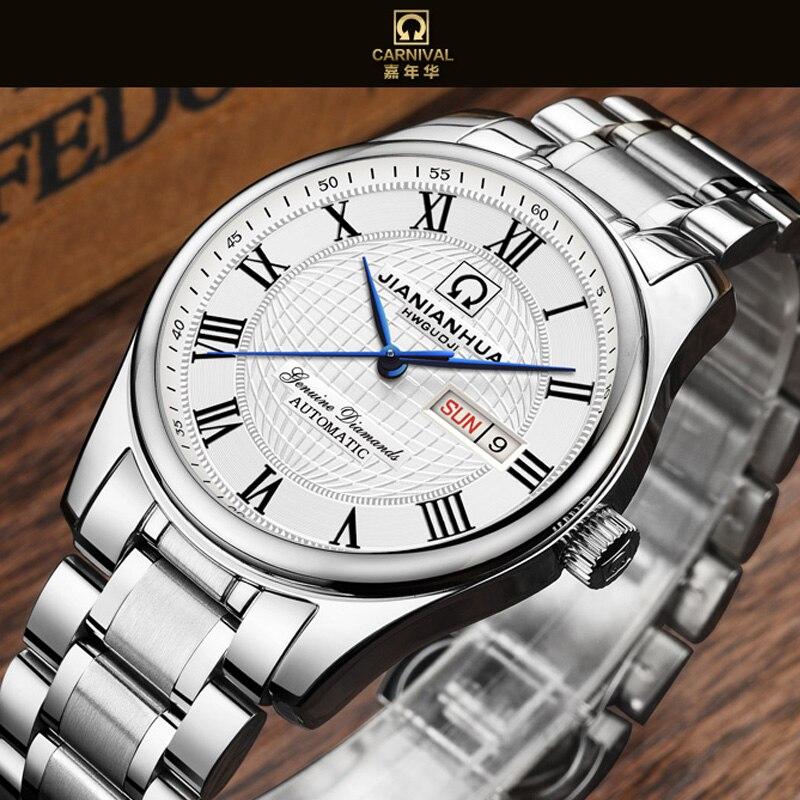 2d4d05ab2e5 CARNAVAL Relógios Homens Mecânico Automático Homens Relógio de Luxo Da Marca  relogio masculino aço inoxidável Sapphire relógio de Pulso Dos Homens 2