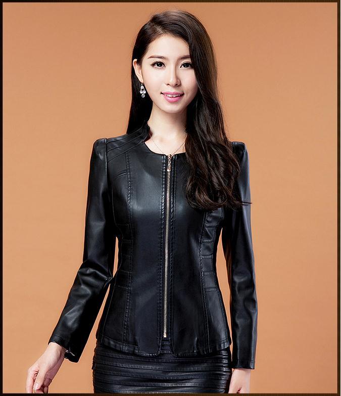Plus Size Women's Pu Leather Short Thin Jacket Zipper Coat Female Coat 2016 New Fashion Coat M - 4 Xl