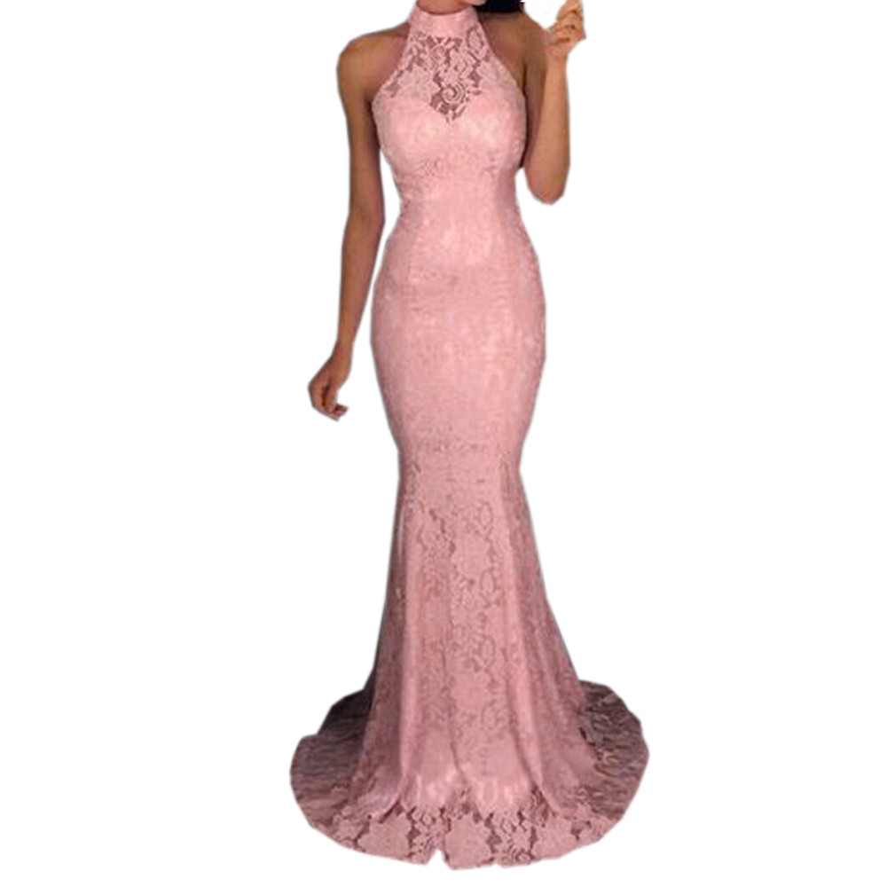 Feitong Elegant Dress Sexy Womens Sleeveless Halter Neck Lace Tight Dress Cocktail Prom Gown Dress