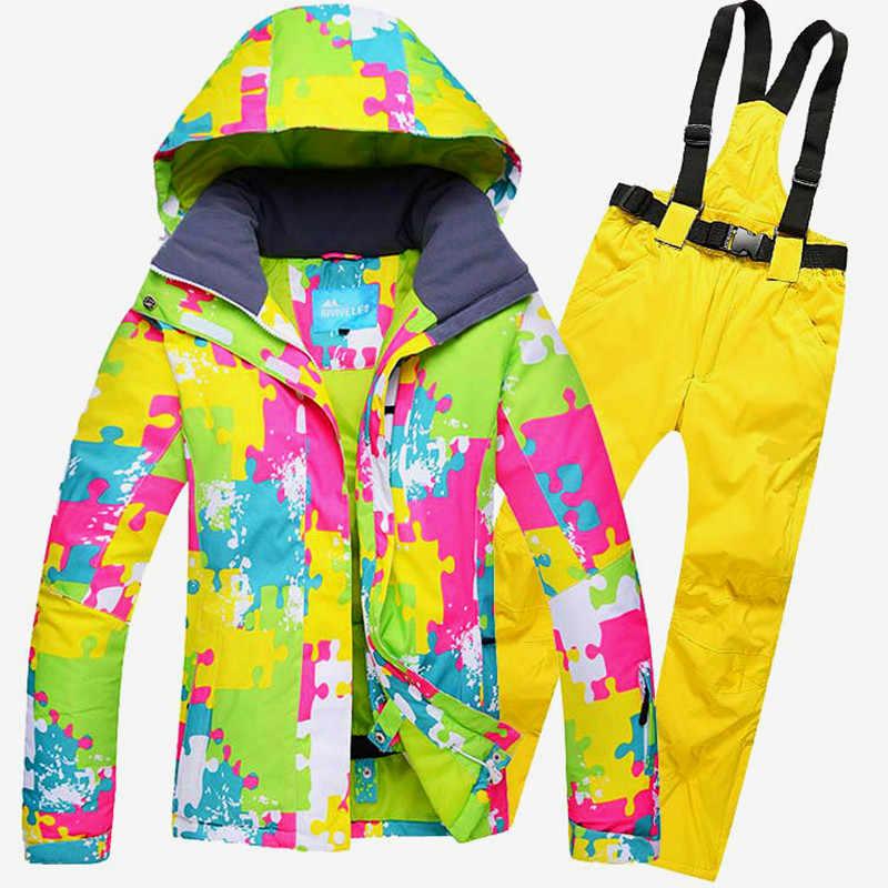 161a8bfedb9d Бесплатная доставка женский лыжный костюм ветрозащитная водостойкая уличная  спортивная одежда сноуборд лыжная куртка + брюки зимняя