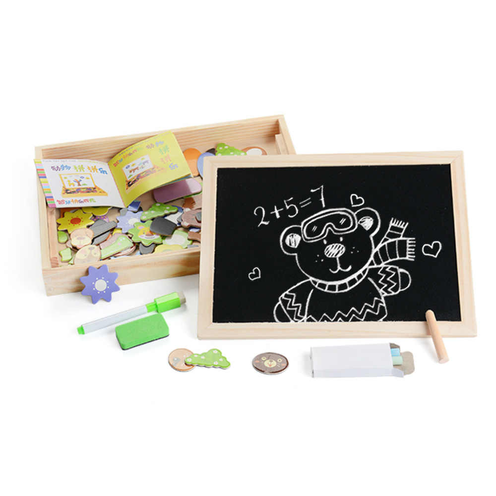 100PCS Magnetic Puzzle Figura/Animais/Veículo/Circus troupe Bordo Pintura 5 estilos Caixa De Madeira puzzle brinquedo etiqueta do Presente Do bebê