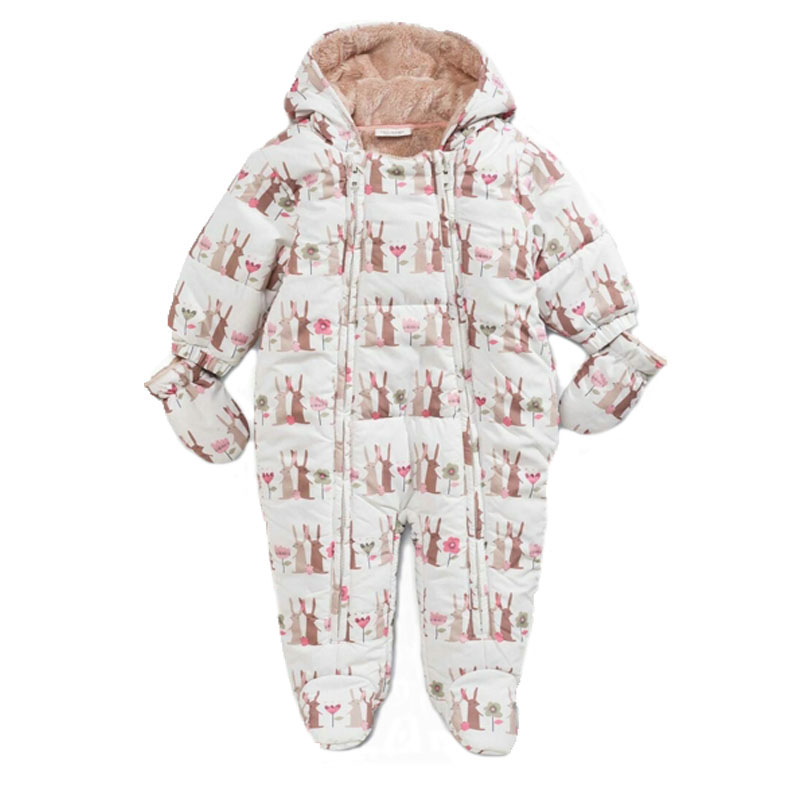 Baby Snowsuits Cotton Rabbit Hooded Jumpsuit Infant Toddler Boys Girls Winter Overalls Kids Clothes Newborn Thicken Rompers newborn baby jumpsuit warm winter boys and girls toddler rompers cartoon animal wolf long sleeves overalls cotton kids clothes