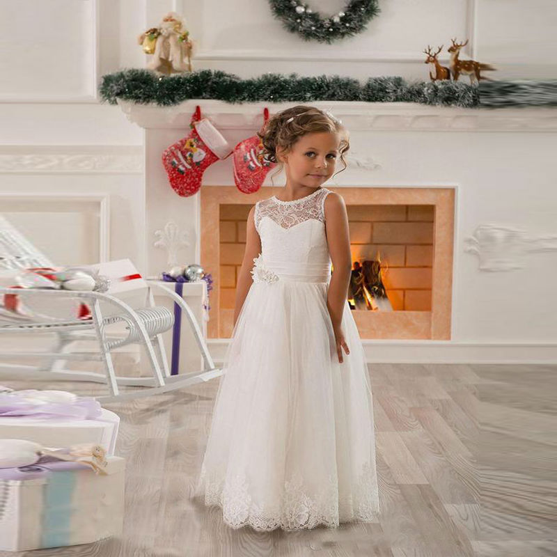 Lovely Flower Girl Dresses for Wedding Little Girls Kids/Children Dress Vintage Lace Tulle Ball Party Pageant Communion Dress
