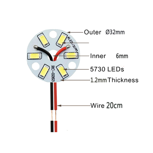 5Pcs Free Shipping SMD 5730 3W 32mm White Light LED Lighting Board Pannel Source Beads Aluminum Plate Base