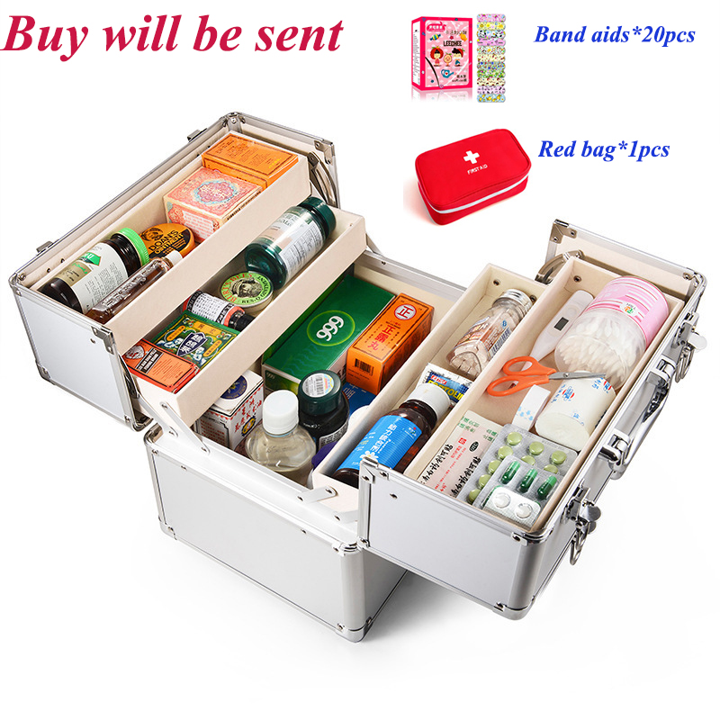 3 Layers First Aid Kit Cabinet Case Aluminium Portable Medical Emergency Kits Earthquake Survival Kit Double Lock First Aid Box -in Emergency Kits from Security & Protection