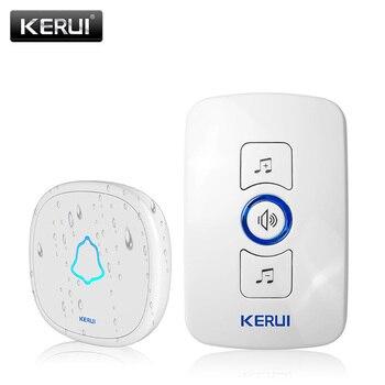 KERUI M525 Home Security Welcome Wireless Doorbell Smart Chimes Doorbell Alarm LED light 32 Songs with Waterproof Touch Button Doorbells